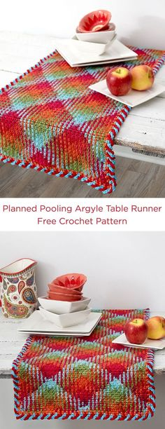 Planned Pooling Argyle Table Runner Free Crochet Pattern in Red Heart Yarns -- Argyle décor sets the tone for colorful entertaining! With Love yarn in Fruit Punch is sure to give your table some plaid pizzazz.