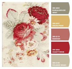 Instantly turn any picture into a palette with ColorSnap, created for you by Sherwin-Williams. Color Schemes Colour Palettes, Red Colour Palette, Paint Color Schemes, Color Combos, Room Colors, House Colors, Wall Colors, Vintage Style Wallpaper, French Country Colors