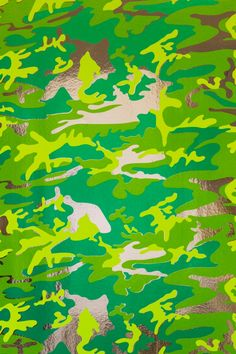 Camouflage (Mossy Field on Chrome Mylar) wallpaper designed by Andy Warhol/Flavor Paper