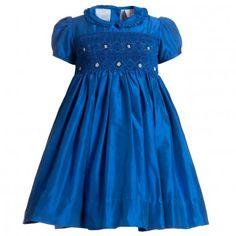 Annafie Blue Silk Hand-Smocked Dress at Childrensalon.com