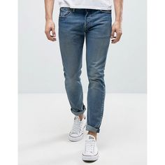 Levis 501 Skinny Jean Dillinger Mid Wash (170 CAD) ❤ liked on Polyvore featuring men's fashion, men's clothing, men's jeans, blue, mens skinny fit jeans, mens blue skinny jeans, mens tall jeans, levi mens jeans and mens blue jeans