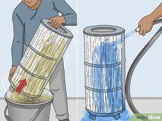 4 Ways to Clean a Cartridge Type Swimming Pool Filter - wikiHow Swimming Pool Filters, Above Ground Swimming Pools, Cleaning Chemicals, Garbage Can, Pool Cleaning, Pool Water, Water Supply, Cleaning Solutions, Type
