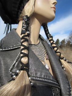 2 Corset Hair Wraps Black Leather Tie Beaded by Vacationhouse, $38.00