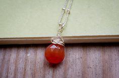 Medium Orange Chalcedony Necklace Briolettes by LoveGemStudio