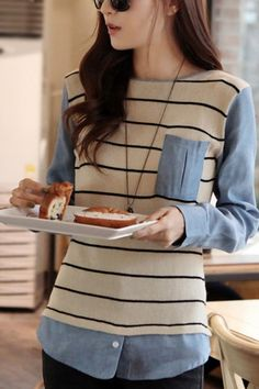 Patterns/textiles  Striped Knitted Body Color Block T-shirt