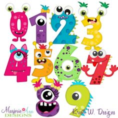 Monster Numbers SVG Cutting Files + Clipart