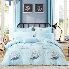 Aqua Blue and White Sailboat and Lighthouse Print Nautical Themed Shabby Chic Twin, Full, Queen Size Sets Blue Teen Girl Bedroom, Girls Bedroom Sets, Teen Girl Bedrooms, Bedroom Themes, Diy Bedroom, Bedroom Ideas, Shabby Chic Theme, Rustic Shabby Chic, Shabby Chic Bedrooms
