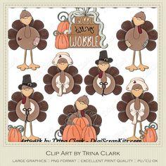 Gobblers Thanksgiving Turkeys - Trina Walker Clip Art
