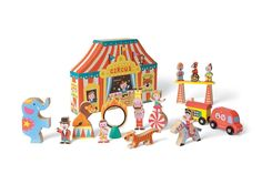 Janod Circus play set - wooden characters and box for storage.