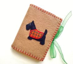 Wool Felt Black Scotty Dog Needle Book by PatriciaWelchDesigns