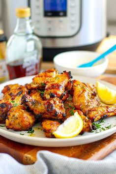 Learn how to make fabulouse, golden, crispy, sticky Instant Pot Chicken Wings with maple mustard glaze. Perfect for game night, family dinner, summer barbecues and finger food for parties. #chickenwings #instantpot #chicken #maple #mustard Greek Chicken And Potatoes, Pre Cooked Chicken, Yummy Chicken Recipes, Yum Yum Chicken, Instant Pot Pressure Cooker, Pressure Cooker Recipes, Easy Family Meals, Easy Meals, Family Recipes