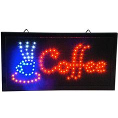 Coffee LED Animated Cafe Open Sign Store Neon Business Shop Light On/Off Switch