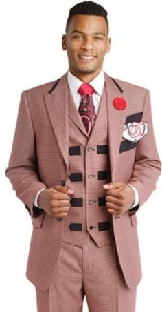 EJ-Samuel-Black-Red-3-Piece- Church Checked Plaided Plaid-Vested-Mens-Suit-M2676-Jacket-Vest-Pants-Mens