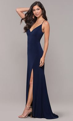 4ee92dfb805e4 Image of long v-neck simple prom dress with open back. Style  JU