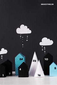 DIY: Adventskalender Stadt aus Papierhäuschen