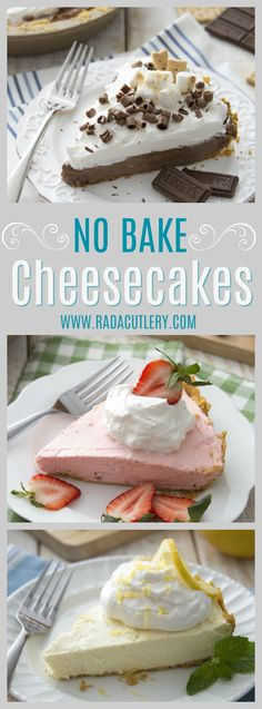 Delicious No-Bake Cheesecakes in three divine flavors; S'mores, Lemon Drop and Strawberry Cream. These quick mix cheesecakes include the filling and crushed graham. All you need to add is butter, cream cheese and whipped topping. It's so easy and it's so yummy! #cheesecake #dessert #nobakedessert #nobakepie