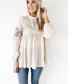 02e370a0344a6 A darling detailed blouse for your Wednesday! Long Sleeve Lace Shirt