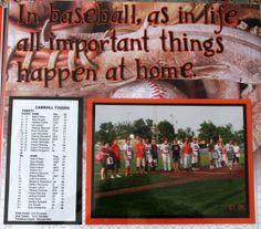 baseball scrapbook layout.  All important things happen at home Senior night