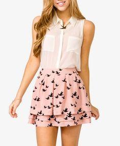 Love the printed skirt