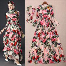 2016 nova moda de lantejoulas Beading rosa aves Big balanço elegante Resort vestido longo Maxi vestido de verão(China (Mainland))