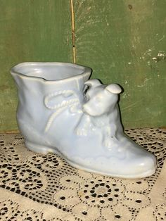 Ceramic Ladies Boot with a Dog on it; Old Fashioned Syle Ladies Boot with a Puppy Dog Laying on it; Old Ceramic Shoe with Dog by Pamsplunder on Etsy