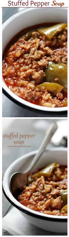 Hearty, comforting, warm and incredibly flavorful Stuffed Pepper Soup. I made this last week and it was amazing-will make again and again!!
