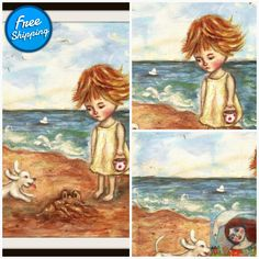 Broken Dreams- naive painting acrylic original painting #SeascapePainting #painting #WhiteDog #cecillecreations #NurseryWallArt #AcrylicPainting #OriginalPainting #GirlRoomDecor #WhimsicalArt #FolkArtPainting Easter Paintings, Virtual Museum, Seascape Paintings, White Dogs, Whimsical Art, Painted Signs, Naive, Nursery Wall Art, Original Paintings