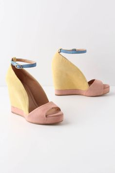 "spring's new trend is PASTELS. what better way to get on board than with these beautiful Anthro wedges (""dipped rosedusk peep toes $355)"