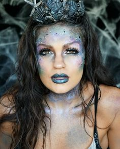 Dark Glittery Mermaid Halloween Makeup