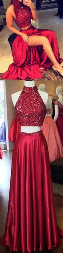 two-pieces homecoming dress,burgundy long evening dress ,sexy halter party dress,beading prom dress