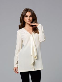 Simple yet feminine pullover blouse / tunic w/ Poet style ruffle on front neckline ~ Burda
