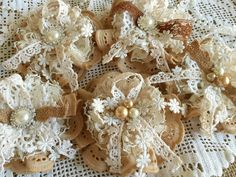 A personal favorite from my Etsy shop https://www.etsy.com/listing/222614938/5-shabby-chic-lace-handmade-flowers