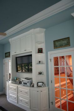Like these blues. also the rest of the paint photos are good, too. Check out tyler taupe/lenox tan combo in MBR Decor Interior Design, Interior Decorating, Decorating Ideas, Decor Ideas, Bedroom Tv Wall, Office Ceiling, Cupboard Ideas, Kitchen Cupboards, Home Office