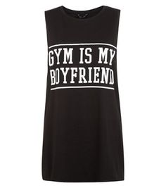 """Try pairing this slogan tank top with blue ripped skinny jeans and plimsolls.- 'Gym Is My Boyfriend' printed front- Rounded neckline- Sleeveless design- Casual fit- Soft cotton fabric- Model is 5'8""""/176cm and wears UK 10/EU 38/US 6"""
