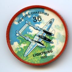 Jell-O Coin 36 - Lightning (1939) - One of the major weapons in the air war against Germany and Japan was the U.S. Lockheed P-38 Lightning long-range fighter. It served as an interceptor, bomber escort, fighter-bomber, night fighter and photo reconnaissance scout. After the war, a few were modified in Canada for commercial aerial survey work. Specifications; Wingspan 52 ft. Length 37 ft., 10 in. Speed 400 mph. Power from two Allison engines.