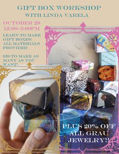 Learn to make great gift boxes and also receive 20% off all Grau jewelry that day only! This October 28th from 12pm-3pm at the Grau Haus. More info at http://shop.thegrauhaus.com/products/gift-box-workshop