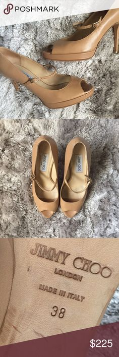 "NEW LISTING JIMMY CHOO Basic Beige Pumps MUST HAVE Neutral Nude! These pumps will be your everyday ""go-to"" heels!! They simply go with EVERYTHING!!! Dresses, skirts, pants, jeans, you name it!! Plus I love how they are super flattering JIMMY CHOO. Enough said. Jimmy Choo Shoes"