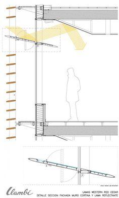 Wooden lattice and light reflection in Zaragoza Roof Architecture, Concept Architecture, Sustainable Architecture, Sustainable Design, Building Skin, Building Facade, Architectural Engineering, Architectural Section, Archi Design