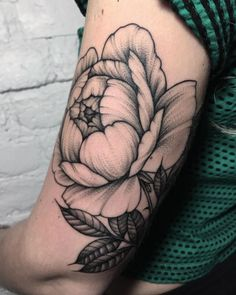 Black and Grey Ink Floral Tattoo by Sasha Masiuk