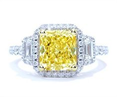 3.37 cttw Fancy Yellow Diamond Ring  Price : $37,300.00 http://www.blountjewels.com/3-37-cttw-Fancy-Yellow-Diamond/dp/B00BT34SBY