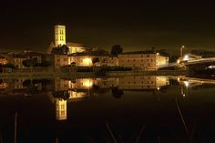 Nightview of Trèbes, Languedoc-Roussillon, France by Andy Walker