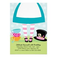 Alice Mad Hatter Tea Birthday Party Invitations