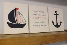 Nautical nursery painting sailboat how much I love you anchor baby girl boy nautical room bathroom wall art nautical kids room beach house on Etsy, $50.00