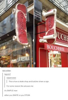 "Seeing as how there is a sign on the butcher shop labeled ""Boucherie"", I'm going to guess that this is in Canada. Canada is truly a marvelous place."