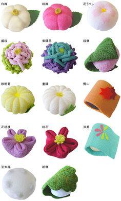 和菓子 Someone made fabric wagashi. This is awesome.