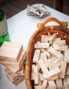 """Wedding Reception Do you LOVE Jenga? Then make the game pieces apart of the wedding """"guest book""""! - Looking for unconventional wedding ideas? Check out Wedpics articles on unique ideas for your special day. Browse now! Wedding Signs, Diy Wedding, Trendy Wedding, Wedding Book, Wedding Table, Wedding Unique, Wedding Favors, Wedding Advice, Fall Wedding"""