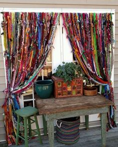 Window Decorations : Description Boho handmade home decor by Melisalanious on Etsy Cortina Boho, Rideaux Boho, Boho Curtains, Beaded Curtains, Ikea Curtains, Outdoor Curtains, Scarf Curtains, French Curtains, Purple Curtains