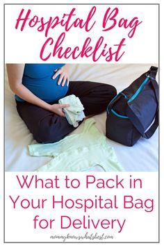 Hospital Bag Checklist: What You Should Bring to the Hospital for Delivery Hospital Bag Checklist Pr Delivery Hospital Bag, Delivery Bag, Pregnancy Labor, Pregnancy Advice, Hospital Bag Checklist, Baby Checklist, Hospital Bag For Mom To Be, Newborn Care, Newborn Babies