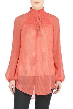 #Polka dot print smocked #chiffon #blouse from eShakti