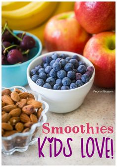 3 totally delicious smoothie recipes for kids that will actually help them stay full all morning long! Packed with protein and fresh fruit, these healthy smoothies are perfect for busy school mornings or after your kid has had their braces adjusted! Smoothie Recipes For Kids, Smoothies For Kids, Yummy Smoothies, Kid Recipes, Family Recipes, Kids Meals, Easy Meals, Freezer Meals, Lassi Recipes